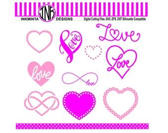 Heart SVG File, infinity svg, love svg digital download files Eps, Dxf, Svg