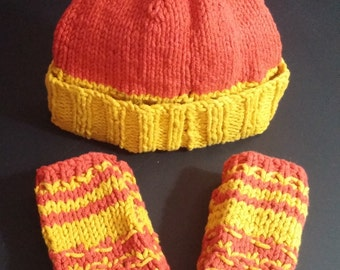 Orange and Red Fingerless Gloves and Beanie Hat