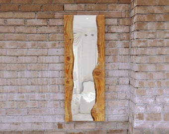 Wooden mirror mirror with wooden frame, unique, handmade, natural structure