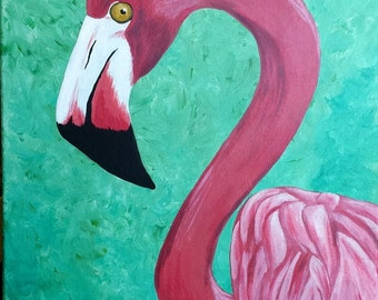 Mrs. Pink 16 x 20 Acrylic Flamingo Painting