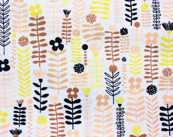 Floral Fabric, Cotton Fabric, Westminster Fabric, Distrikt, Erin McMorris, Peach and Brown ,Playmats Blankets Swaddles Nursery , Half Metre