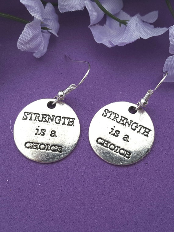 Fitness Earrings, CrossFit Sports Jewelry, Strength is a Choice Charms, Weight Training Marathon Runner Charms, Team Coach Athlete Gifts