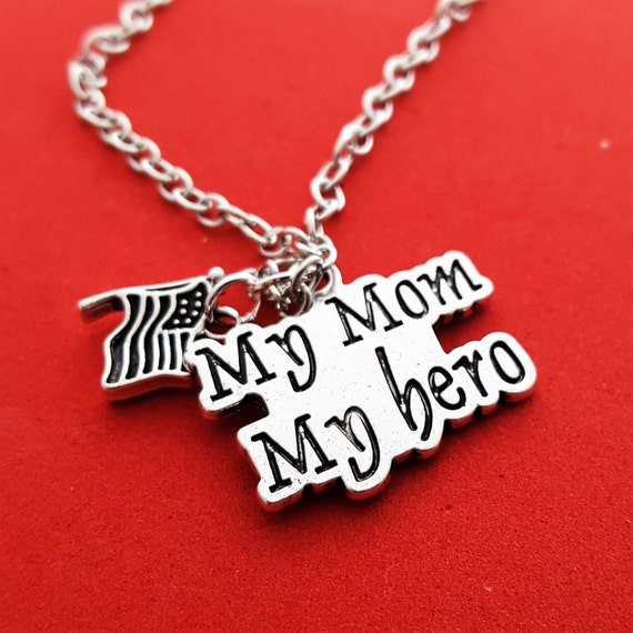 Patriotic Necklace, Military Wife Mom Gift, My Mom My Hero Necklace, American Flag Charms, Military Inspirational Jewelry, Mother's Day Gift