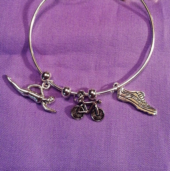 Triathlon Jewelry, Triathlete Silver Wire Bracelet, Sports Jewelry, Swim Bike Run, Fitness Charms, Motivational Gifts, Inspirational Jewelry