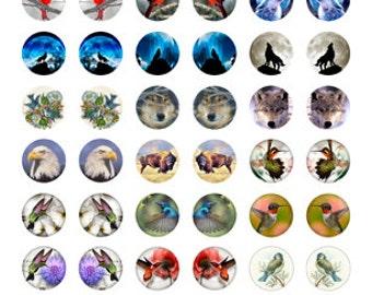 """1"""" Round Wolf and Bird Designs Collage Sheet"""