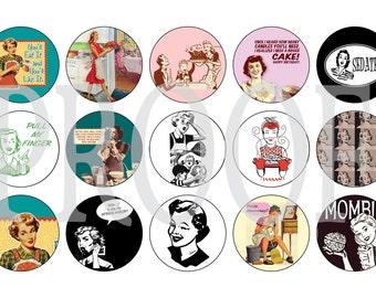 Digital Bottle Cap Image Sheet - Retro Wife - 1 Inch Digital Collage - Instant Download