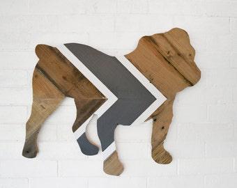 Bulldog Reclaimed Wood Wall Art