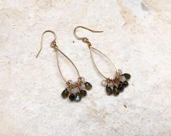 Labradorite and Moonstone Teardrop Hoop Earrings, 14k gold-fill