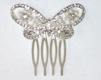 Pearl and Diamante/Rhinestone Butterfly Bridal Hair Comb