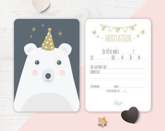 "Invitation for ""Nice bear"" birthday card"