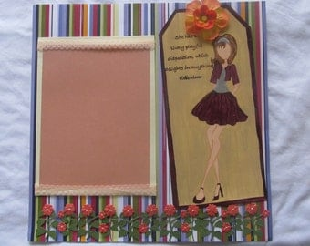 12 x 12 premade scrapbook page/ floral/prima/painted/classy/cute