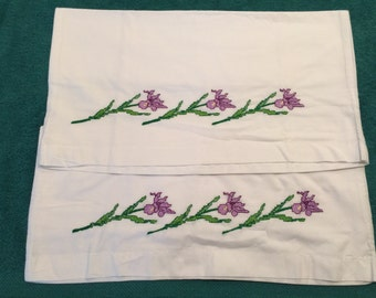 Embroidered pillowcases Flowers– beautiful