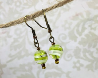 Green Swirl Glass Bead Bronze Earrings