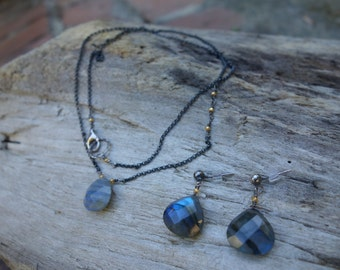 Labradorite Sterling Silver Necklace and Earrings Set, Gemstone Jewelry Set, Delicate Jewelry