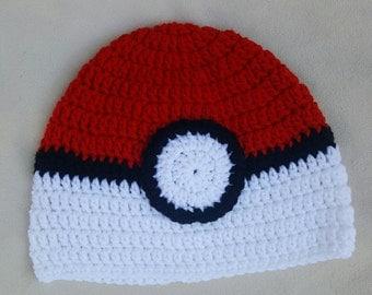 Crocheted Pokemon ball hat