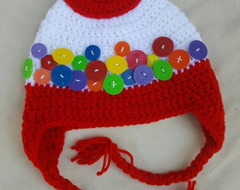 Gumball machine crocheted hat