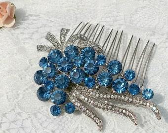 Blue crystal Bride headpiece, Bridal rhinestone Hair Comb, grape headpiece, rhinestone bridal hair comb, blue bridal comb, Blue wedding 35