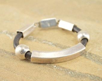 Leather Cord Geometric Beaded Bracelet Sterling Silver 24.3g Vintage Estate
