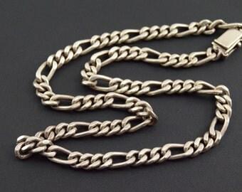 Figaro Fancy Link Necklace Sterling Silver 96.1g Vintage Estate