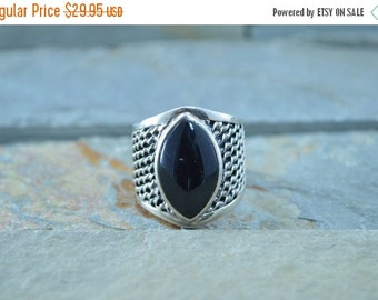 ON SALE Chain Link Detailed Marquise Onyx Ring Size 6.75 Sterling Silver 9.2g Vintage Estate