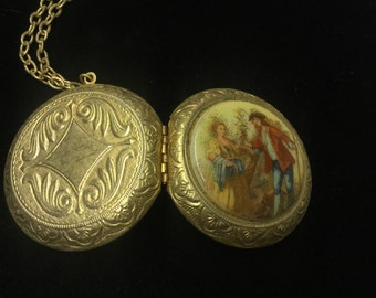 Vintage Locket Necklace, Goldtone