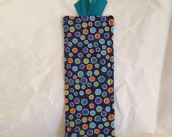 Bookmark quilted with blue polkadot fabric
