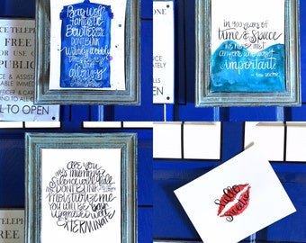 Doctor who quotes / pick two for 20.00 / doctor who handwritten quotes / brush calligraphy / doctor who gift