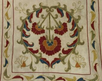 Uzbek Silk Hand Embroidered Suzani Pillow Case Handmade and Hand Embroidered Pillow Case