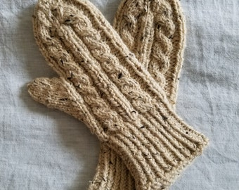 Cable Knit Mittens // Hand Knit Wool Tweed Mittens