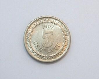 1907 Mexico Nickel 5 Centavos