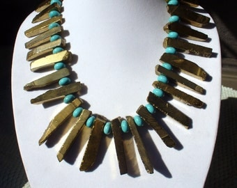 Large Gold agate and Turquoise Colored Howlite Necklace