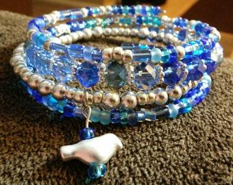 Beaded bird bracelet