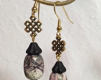 Pink Magnesite & Glass Bead Earrings - Celtic Styling, Handmade