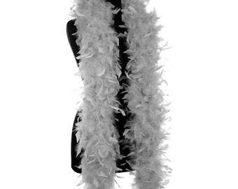 Grey 65 Gram Chandelle Feather Boas - 6 Feet Long - Use as Trim or Wear as a Scarf - Halloween Party Favors - Decorations - Feather Trim
