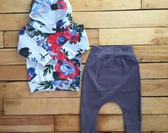 Narrow lilac grey harem pants