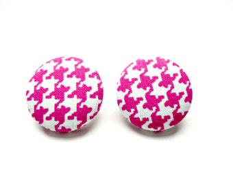 Pink Houndstooth Button Earrings-Houndstooth Fabric-Pink Houndstooth Earrings-Houndstooth Button Studs-Hypoallergenic-Studs-Clip Ons