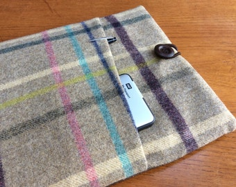 "MacBook 13"" Pro Air cover case, laptop sleeve, British wool tweed with pocket"