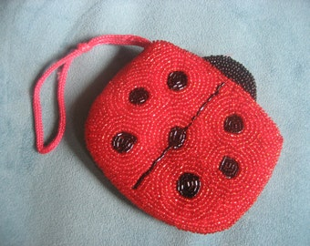 Beaded Red and Black Ladybug Coin Purse