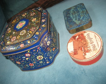 3 Old Vintage Tin Containers