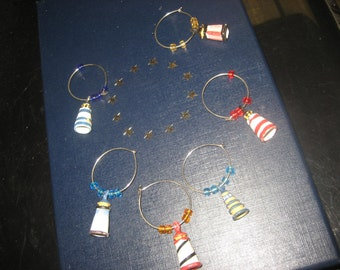 SAVED NOEYSet of Six Lighthouses Wine Glass Charms / Party Drink Identifiers
