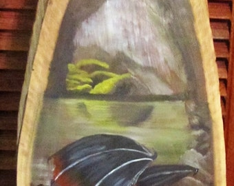 Dragon's Lair Oil Painting on Natural Walnut Plaque