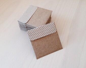 10 MINI KRAFT Envelopes with Chevron Print | Square Kraft Envelopes | Mini Square Envelopes | Kraft Brown Envelopes | DIY Rustic Wedding