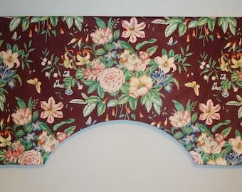 Vintage Chintz Floral Garden Bloomcraft Boblyn Austin Custom Valance, Wine Pink Green Butterfly