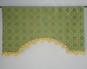 Contemporary Lattice Woven Valance in Green Yellow