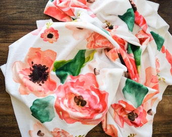 Minky baby blanket - super soft minky in pink watrcolor floral print  - perfect for a girl or baby shower gift