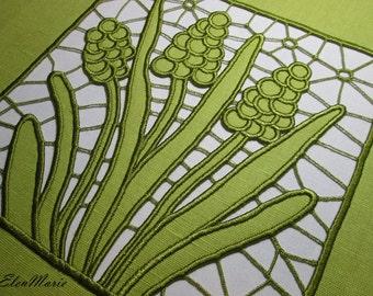 MACHINE EMBROIDERY DESIGN - Richelieu cutwork Hyacinth 5*7_10*10