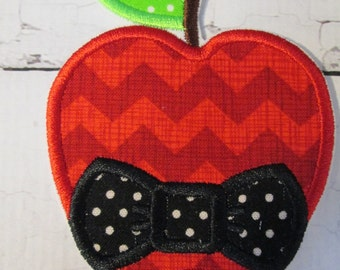 Apple Bowtie - Iron On Embroidered Applique