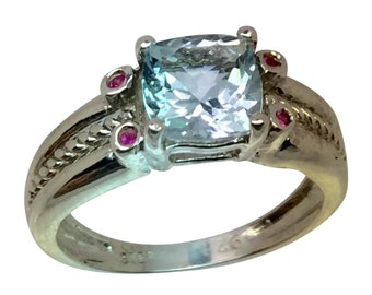 14k Aquamarine & Ruby Ring, Free Sizing