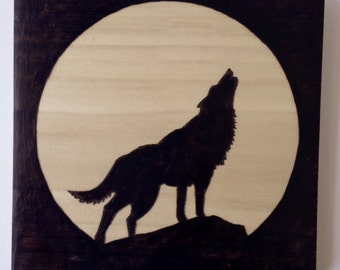Wolf silhouette wood sign, wood burned sign, pyrography art, howling wolf