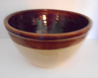 Vintage Pottery-Chocolate Brown and Cream/Large Mixing Bowl